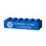 15 (Fifteen) Years of Geocaching Official Trackable Lego Brick - Blue